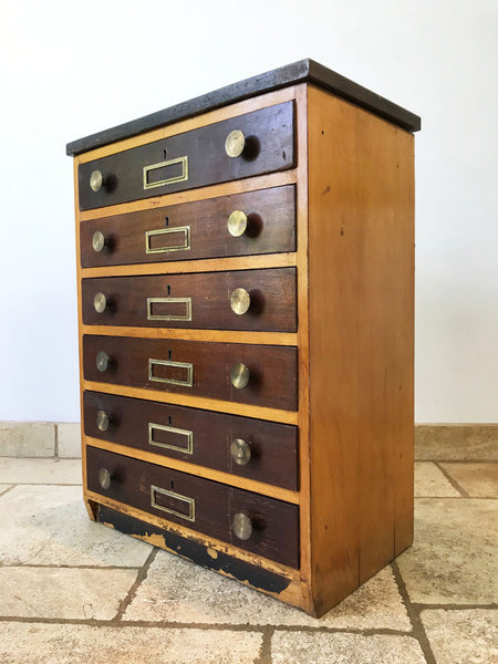 Science Chest. Salvaged from a school in Cornwall, where they where originally used in the science lab to hold optical lenses. The top is made from teak and the handles and face plates are brass. Circa: 1950's