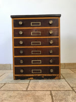 Science Bank of Drawers with Brass fixtures
