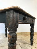 Black Pine Farmhouse Table - Two Drawers