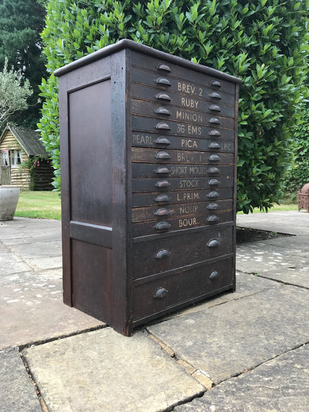 Victorian Typesetter's Bank of Drawers