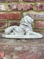 Pair of Weathered Lions Statues