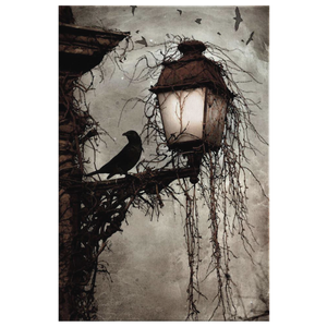 The Myths Of Time - Twilight Tales - The Raven - Crow Standing on a Lamp - David McGowan Canvas Wall Art