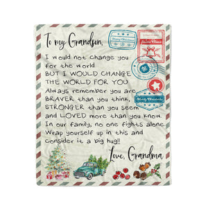 Blanket Christmas Gift Ideas for Grandson From Grandma Letter To My Grandson I Would Not Change You For The World Fleece Blanket