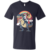 Unicorn and Pit Pug Dog Riding Dinosaur Rainbow