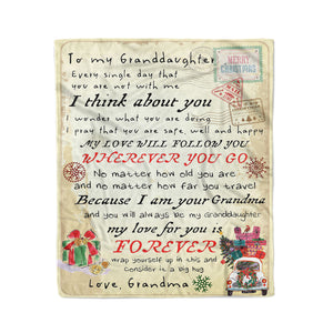 201104 Blanket Christmas Gift Ideas for Granddaughter To My Granddaughter Every Single Day That You Are Not With Me - Fleece Blanket