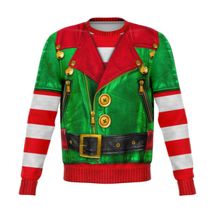 Elf Sons of Santa Motorcycle  Funny U g l y Christmas Sweater