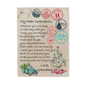 Blanket Christmas Gift Ideas for Grandson From Grandma Letter to My Dear Grandson Wherever Your Journey In Life May Take You Sherpa Blanket