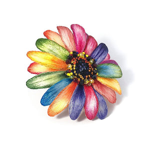 Hand Embroidery Colorful Daisy Brooch Pin Fashion Coat Accessories Bead Crystal Daisy Personalized Gift Ideas Autism Autistic Child's Mom Mothers Day