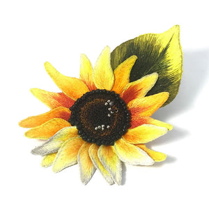 Hand Embroidery Sunflower Brooch Pin Fashion Accessories Gift Ideas