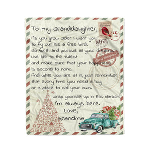 201104 Blanket Christmas Gift Ideas for Granddaughter To My Granddaughter As You Grow Older I Want You To Fly Out Like A Free Bird - Fleece Blanket