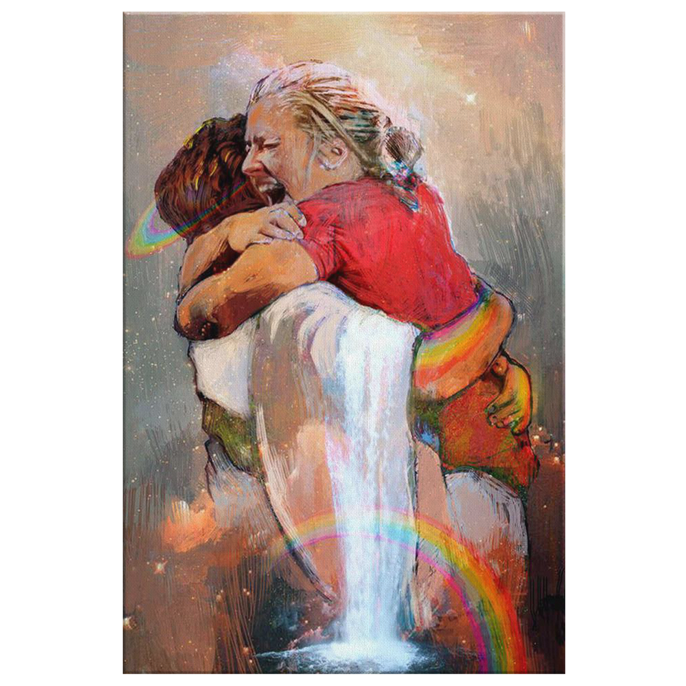 First Day in Heaven - Jesus Christ Hug - Welcome Hug Of God for First Day in Heaven - Framed Canvas Prints Canvas Wall Art Painting Printing
