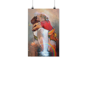 First Day in Heaven - Hug Of God - First Day in Heaven - Jesus Christ Hug - Welcome Hug Of God for First Day in Heaven - Poster