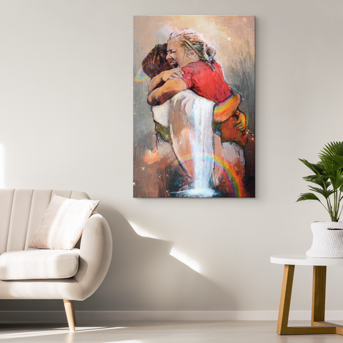 First Day in Heaven - Jesus Christ Hug - Welcome Hug Of God for First Day in Heaven - Canvas Wall Art Painting Printing