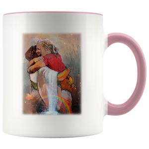 First Day in Heaven - Jesus Christ Hug - Welcome Hug Of God for First Day in Heaven - Full-Wrap Coffee Colors Accent Mug