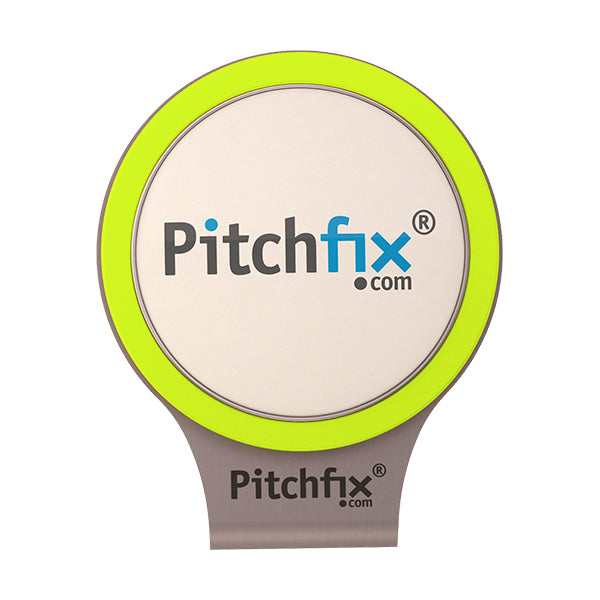 Flourescent yellow Pitchfix Hat and Cap Clip Golf ball marker