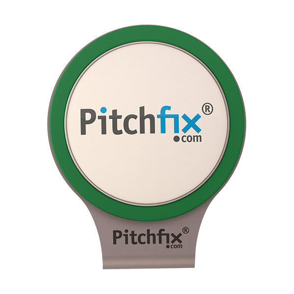 Green Pitchfix Hat and Cap Clip Golf ball marker