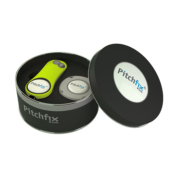 Round Golf Gift Tin with Fusion 2.5 repair tool and Multimarker chip