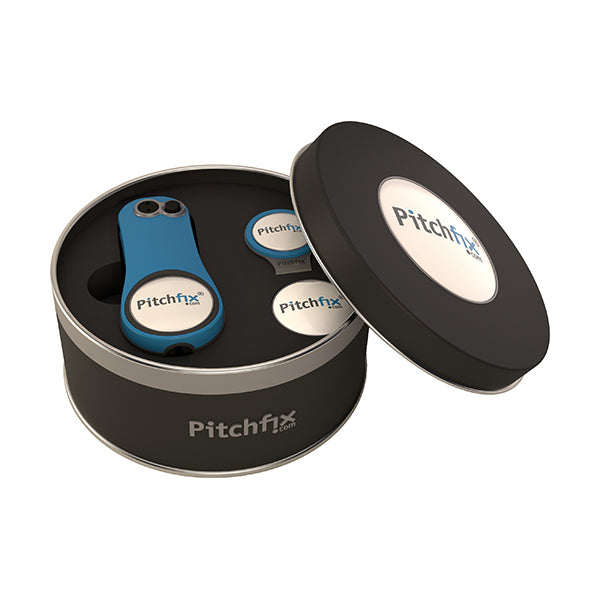 Round Golf Gift Tin with Fusion 2.5 repair tool and hatclip