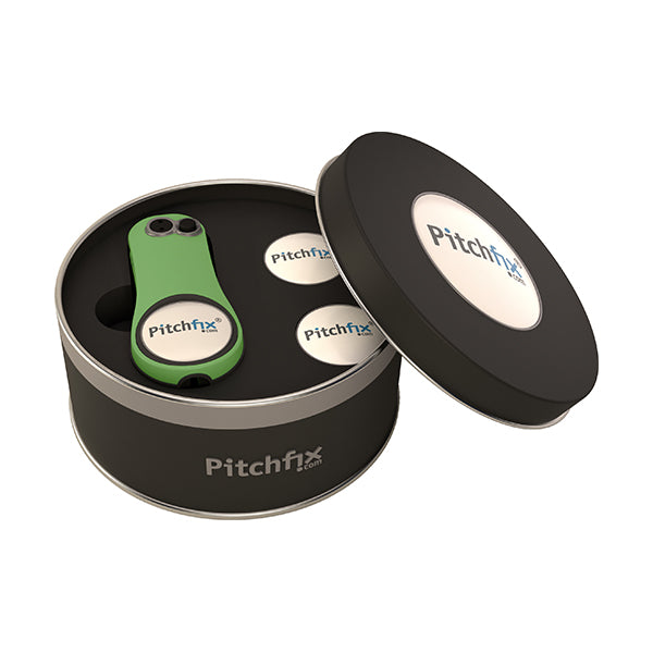 Round Golf Gift Tin with Hybrid2.0 repair tool and ballmarkers