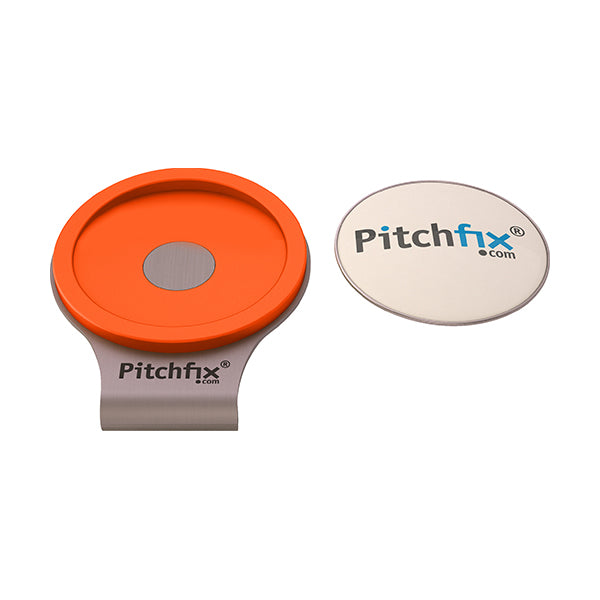 Orange Pitchfix Hat and Cap Clip Golf ball marker
