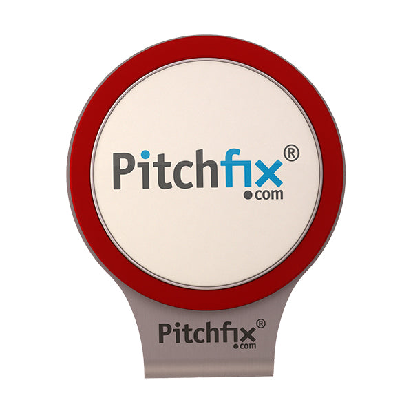Red Pitchfix Hat and Cap Clip Golf ball marker