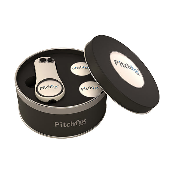 Round Golf Gift Tin with Fusion 2.5 and ballmarker