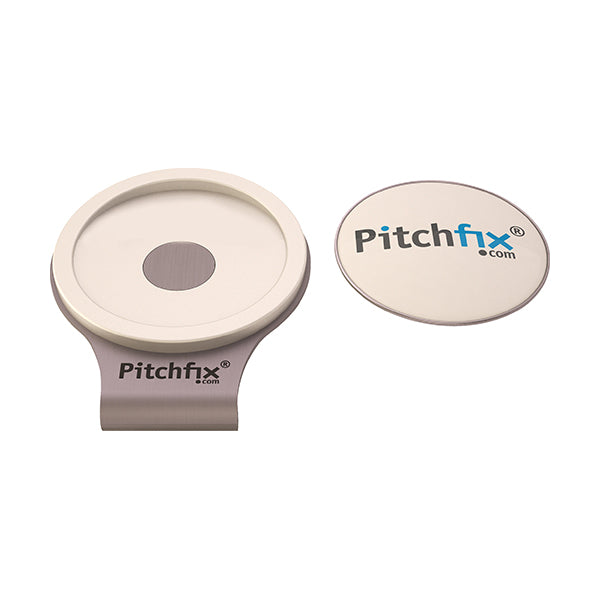 White Pitchfix Hat and Cap Clip Golf ball marker