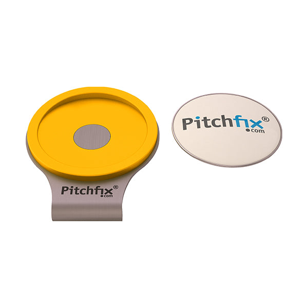 Yellow Pitchfix Hat and Cap Clip Golf ball marker