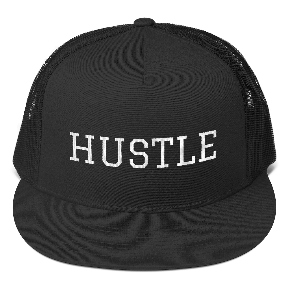 Stay Humble Hustle Hard Black Hustle Trucker Cap-Entrepreneur Lifestyle Clothing