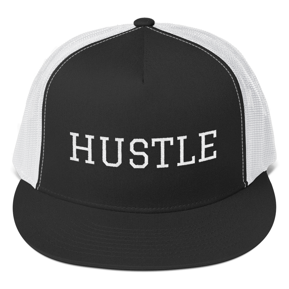 Stay Humble Hustle Hard Black/ White Hustle Trucker Cap-Entrepreneur Lifestyle Clothing