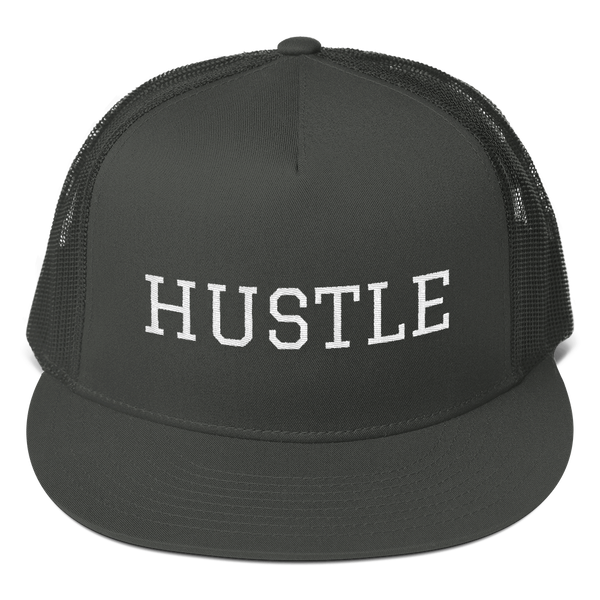 Stay Humble Hustle Hard Charcoal Hustle Trucker Cap-Entrepreneur Lifestyle Clothing