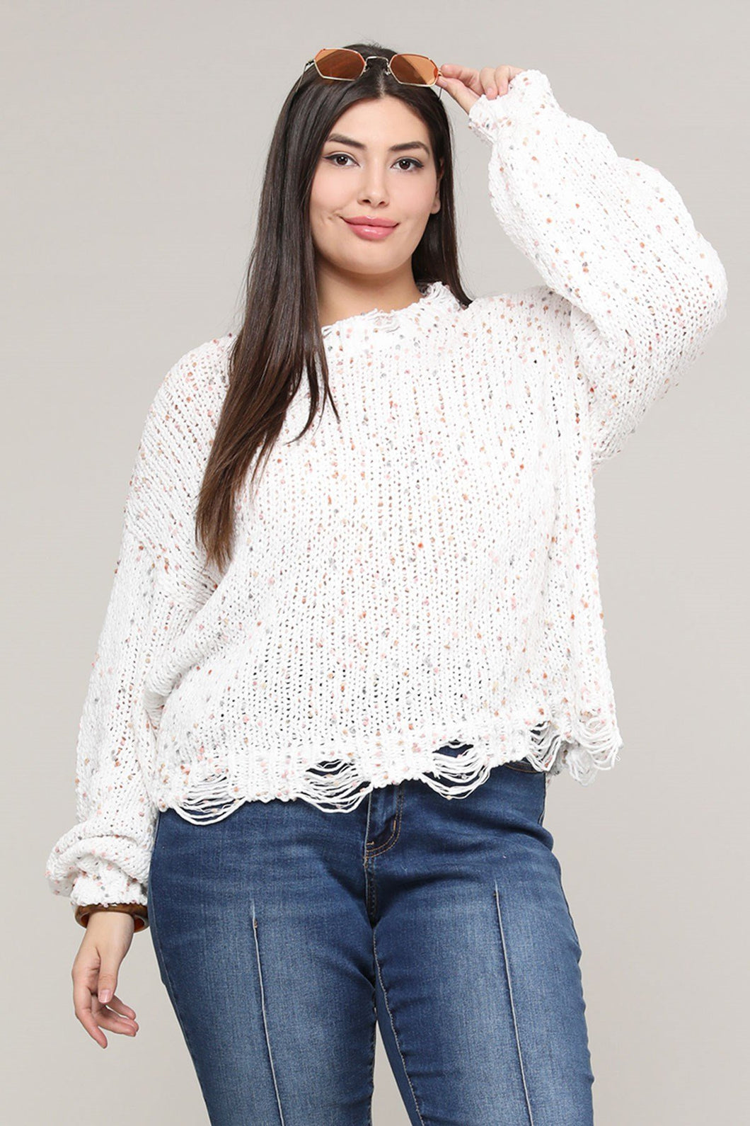 Short Confetti Sweater White Xl Clothing