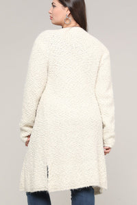 Extended Sizes Beige Open Cardigan - Oversized Clothing