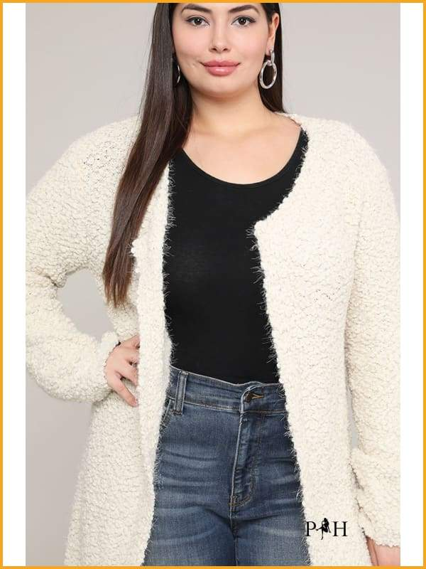Extended Sizes Charcoal Open Cardigan - Oversized Clothing