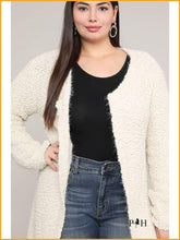 Load image into Gallery viewer, Extended Sizes Charcoal Open Cardigan - Oversized Clothing
