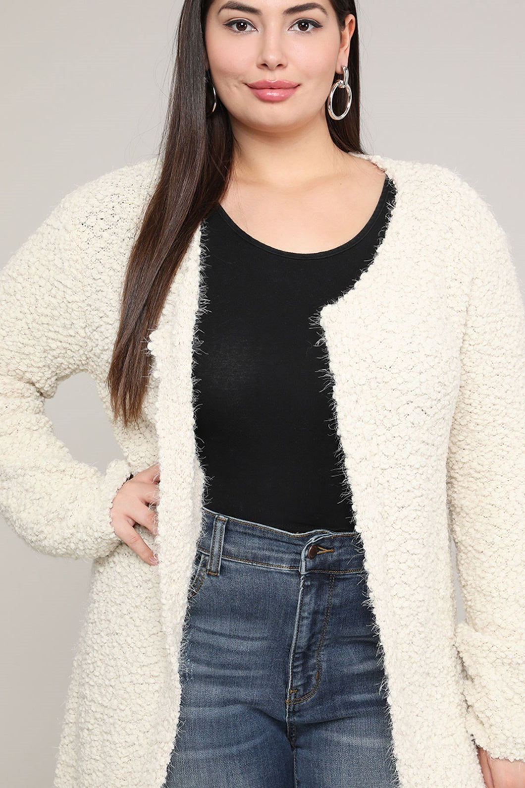 Extended Sizes Beige Open Cardigan - Oversized 2Xl Clothing