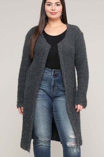 Extended Sizes Charcoal Open Cardigan - Oversized Xl Clothing