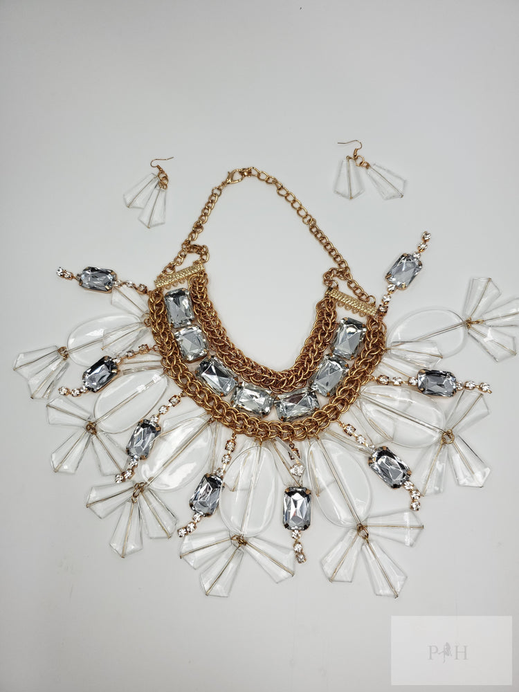 Bib Statement Necklace Pave Crystal Cluster with Matching Earrings - Jewelry