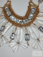 Bib Statement Necklace Pave Crystal Cluster With Matching Earrings - Jewelry Accessories