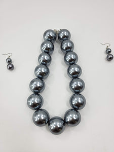 Chunky Pearl Collar Bib Necklace With Matching Earrings Accessories