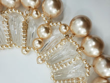 Load image into Gallery viewer, Clear Lucite Pearl Collar Necklace Chunky/ Matching Earrings Accessories