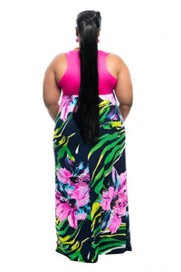 Extended Sizes Stripe Print Maxi Dress Clothing