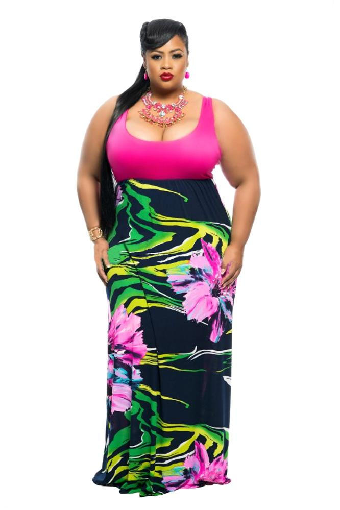 Extended Sizes Stripe Print Maxi Dress X Large Clothing