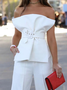 Sleeveless Wrapped Chest Ruffles Blouse Clothing