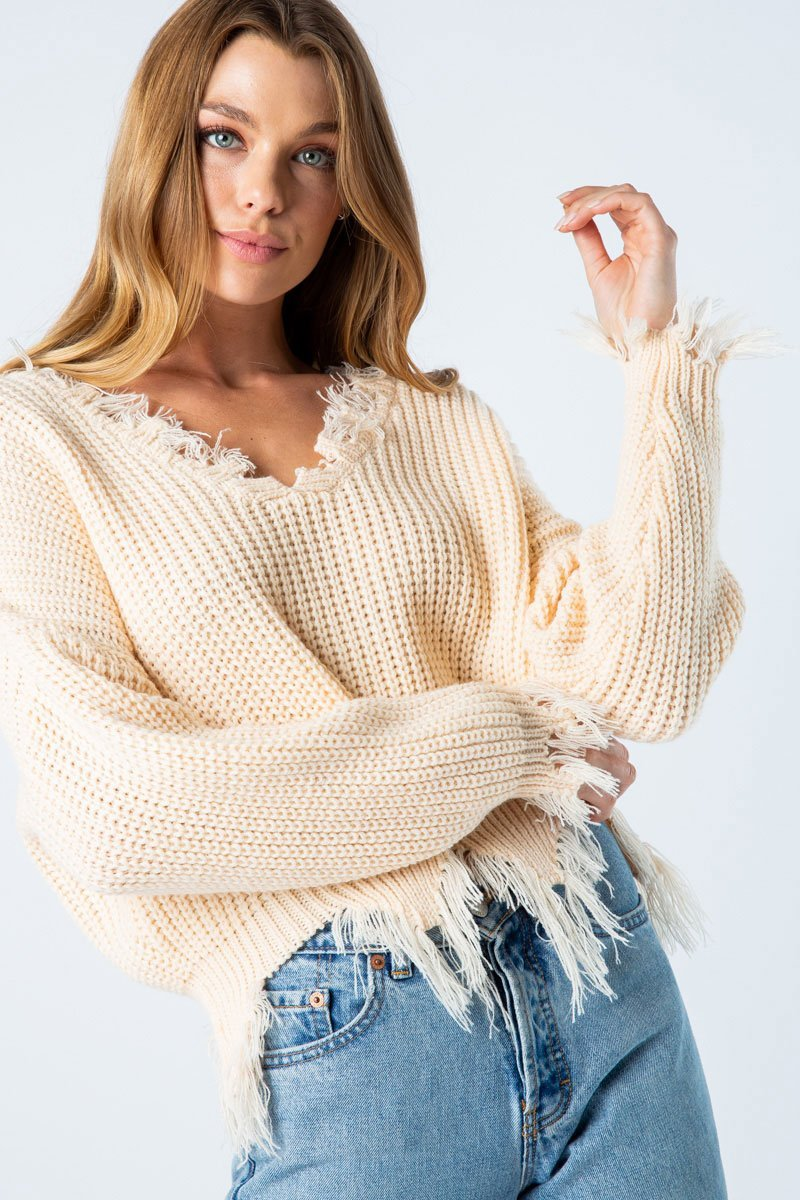 Distressed Sweater Cream Colored Small Clothing