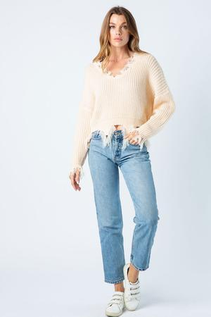 Distressed Sweater Cream Colored Clothing