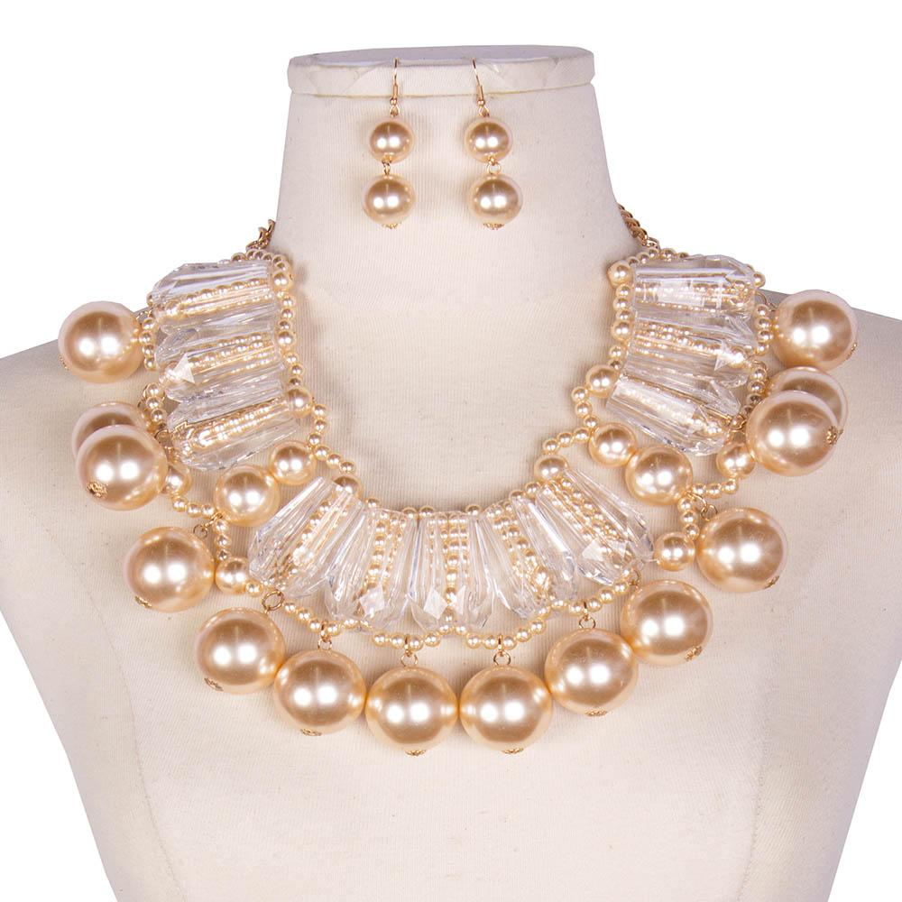 Clear Lucite Pearl Collar Necklace Chunky/ Matching Earrings