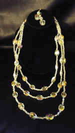 Golden  Quartz Beads Necklace  Jewelry