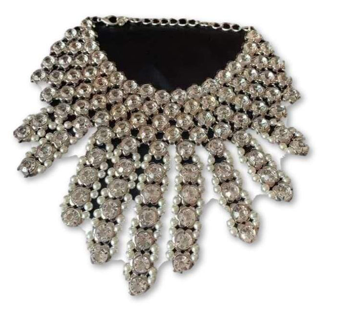 Glass Crystal & Pearl Bib Choker Accessories