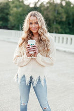 Load image into Gallery viewer, Distressed Sweater Cream Colored Clothing